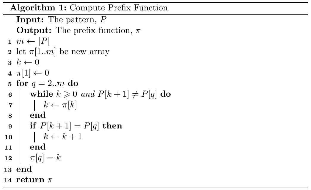 对KMP算法中前缀函数的分析以及正确性证明